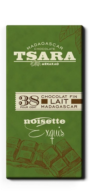 Tsara - CHOCOLAT tablette  au Lait NOISETTES (38% CACAO )