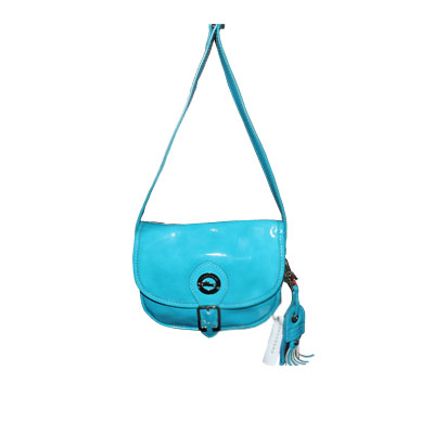 Longchamp - Sac bandoulière vernis - Bleu turquoise