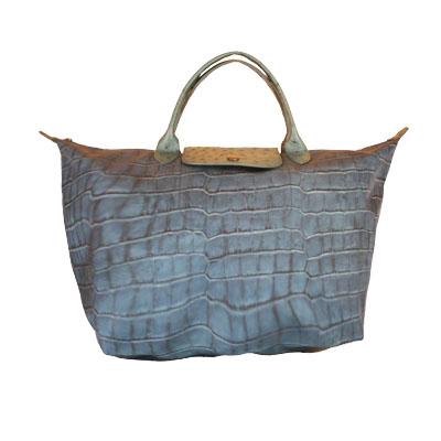 Longchamp - Sac à main Le pliage - Croco olive