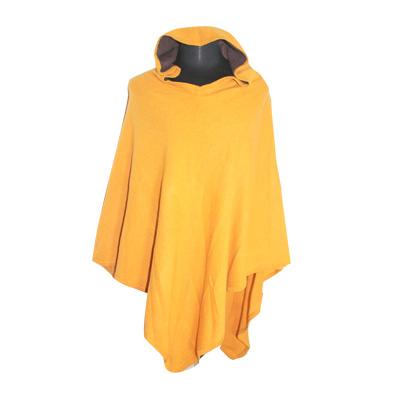 Poncho à capuche - Cachemire jaune losange