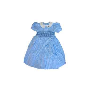 Robe fillette 6 ans - 100% coton - Bleu ciel rayer
