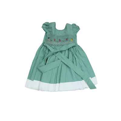 Robe fillette 12 mois - 100% coton - Vert kaki