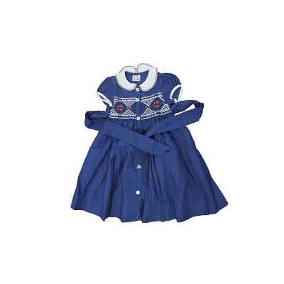 Robe fillette 12 mois - 100% coton - Bleu marine