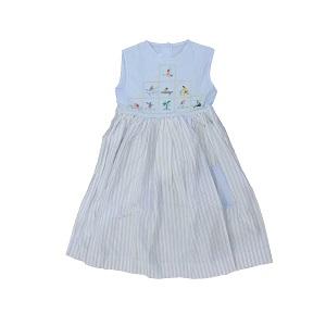 Robe fillette 6 ans - 100% coton - Bleu ciel carreaux