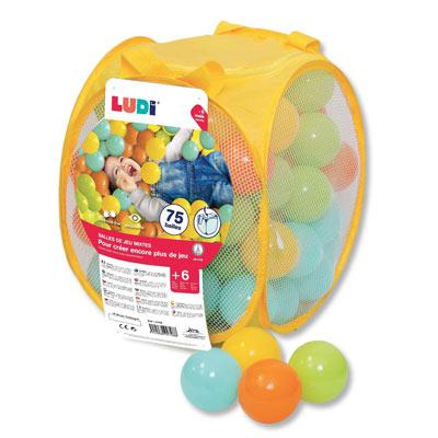LUDI - Sac de 75 balles multicolores souples