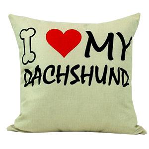Coussin en lin - I LOVE MY DACHSHUND
