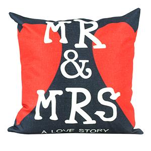 Coussin en lin - Couple Mr et Mrs