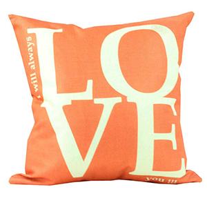 Coussin en lin - I WILL  ALWAYS LOVE YOU orange