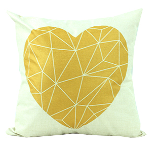 Coussin en lin - Coeur jaune