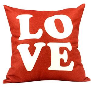 Coussin en lin - LOVE rouge