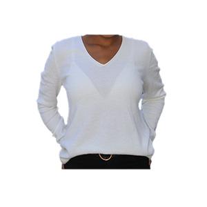 Pull femme - Cachemire col V blanc