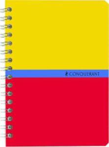 Conquerant - Carnet spirale 9 x14 cm petits carreaux Jaune / Rouge - 100 pages