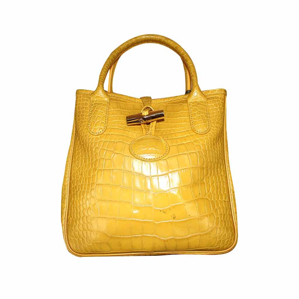 Longchamp - Sac à main roseau en cuir - Jaune