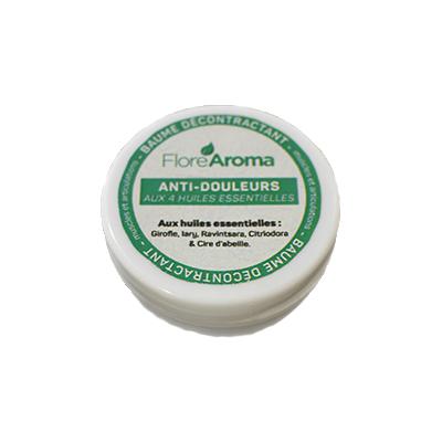 Flore Aroma - Baume décontractant  anti-douleurs aux 4 huiles essentielles